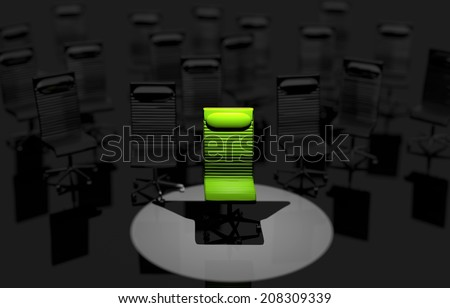 Job Place in the Spot Light. Green Office Chair Job Concept Illustration.  - stock photo
