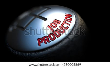 Job Production. Shift Knob with Red Text on Black Background. Close Up View. Selective Focus. 3D Render. - stock photo
