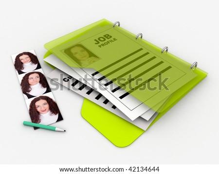 job profile folder with photos of a woman - stock photo