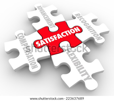 Job Satisfaction words on puzzle pieces with elements such as compensation, recognition, advancement and flexibility - stock photo