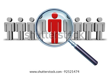 Job search and career choice employment concept with human icons and a red businessman character in a magnifying glass as a symbol of recruitment and occupation discovery. - stock photo