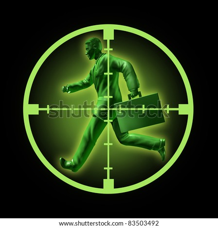 Job search and looking for employment in a high paying career position  found through online hunting through classified ads represented by a running green businessman with crosshairs aiming at him. - stock photo
