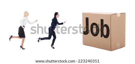 job search concept - running business women isolated on white background - stock photo