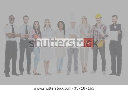 Job search. Group of diverse people in different occupations standing close to each other and against white background and smiling - stock photo