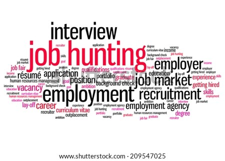 Job search issues and concepts word cloud illustration. Word collage concept. - stock photo