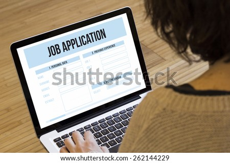 job search online concept: job application on a laptop screen - stock photo