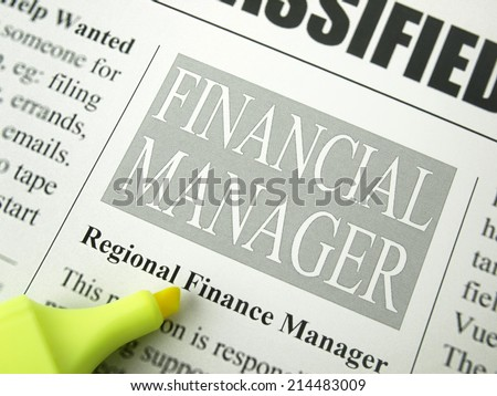 Job Search or Employment, Financial Manager Opportunities, Classified advertisement - stock photo