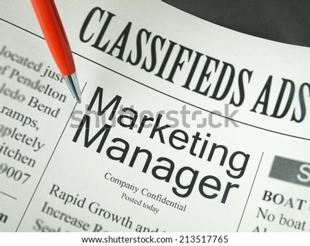 Job Search or Employment, Opportunity Marketing Manager, Classified Ad - stock photo
