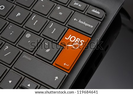 Job search Return Key symbolizing the searching of internet recruitment websites to find work or a job by an applicant - stock photo