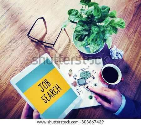 Job Search Searching Career Application Concept - stock photo