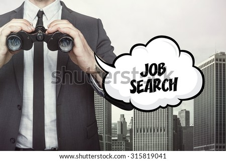Job search text on speech bubble with businessman holding binoculars on city background - stock photo