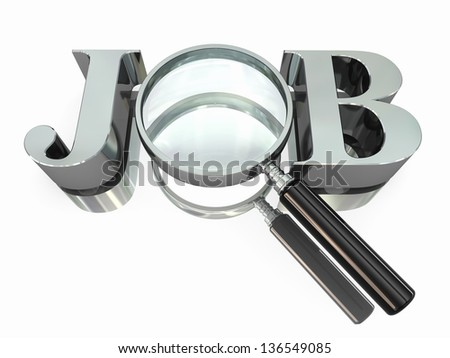 Job search. Text with loupe or magnifying glass isolated on white. 3d - stock photo