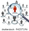 Job searching and career hiring choice employment concept with human icons connected in a network and a red businessman character in a magnifying glass as a symbol of internet recruitment services. - stock photo