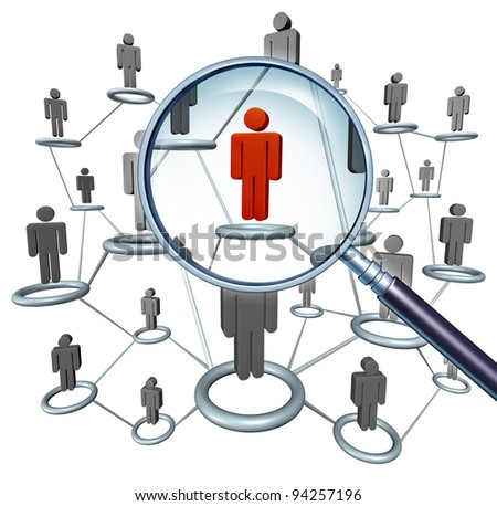 Job searching and career hiring choice employment concept with human icons connected in a network and a red businessman character in a magnifying glass as a symbol of internet recruitment services.
