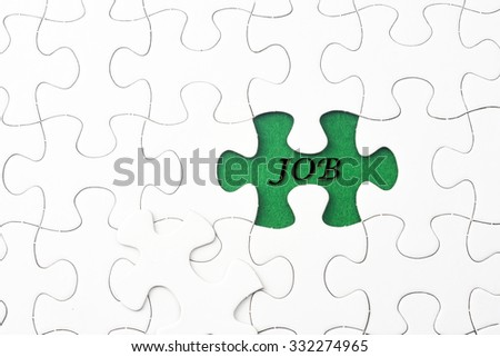 JOB word at missing puzzle  - stock photo