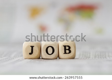 Job word built with letter cubes - stock photo