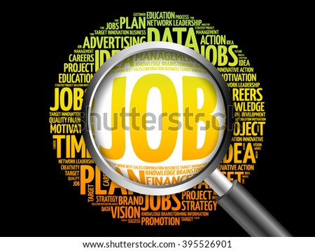 JOB word cloud with magnifying glass, business concept