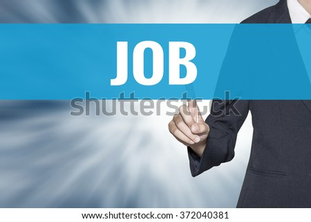Job word on virtual screen touch by business woman cyan sky tab - stock photo