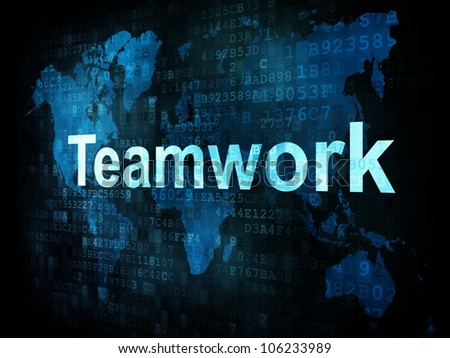 Job, work concept: pixelated words Teamwork on digital screen, 3d render - stock photo