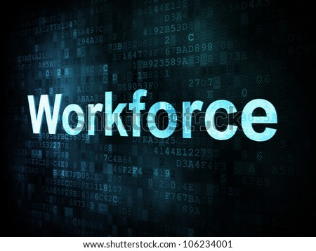 Job, work concept: pixelated words Workforce on digital screen, 3d render - stock photo