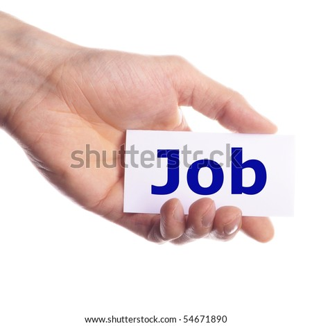 job work or unemployment concept with hand and paper