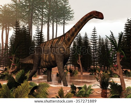 Jobaria dinosaur walking to a little pond and among wollemia, calamite and cycas plants - 3D render - stock photo