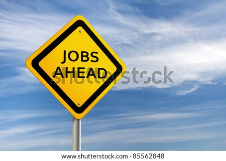 JOBS AHEAD road sign against blue sky - stock photo