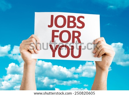 Jobs for You card with sky background - stock photo