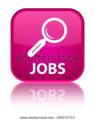 Jobs pink square button - stock photo
