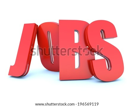Jobs red word on white background