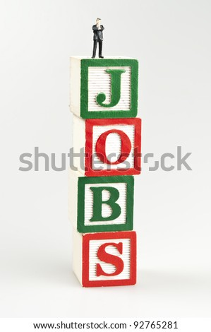 Jobs word and toy business man - stock photo