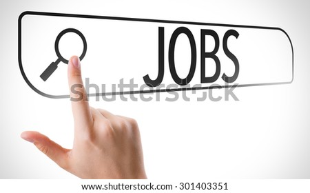 Jobs written in search bar on virtual screen - stock photo