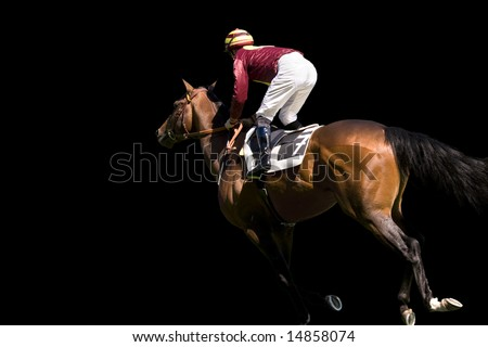 Jockey and horse number 7 on a black background. - stock photo