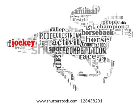 Jockey info-text graphic and arrangement concept on white background (word cloud)