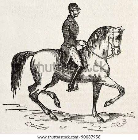Jockey on horseback old illustration. By unidentified author, published on L'Illustration, Journal Universel, Paris, 1858 - stock photo