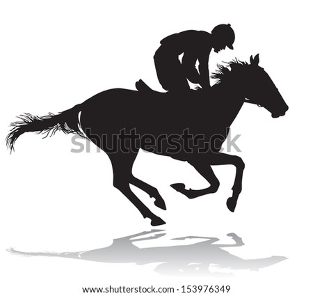 Jockey riding a horse. Horse races. Competition.  - stock photo