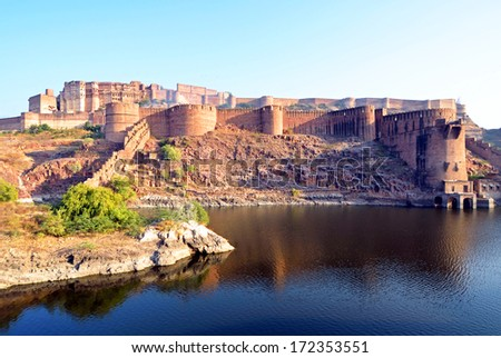 JODHPUR - DECEMBER 24: Mehrangarh Fort on December 24, 2013 in Jodhpur,India.Mehrangarh Fort is situated 122 meters above the city and is one of the largest forts in India. - stock photo