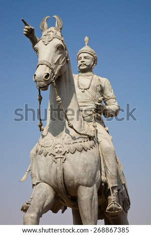 Jodhpur, India - January 3, 2015 : A statue of the founder of Jodhpur, Rao Jodha Ji, on horseback in central Rajasthan in India