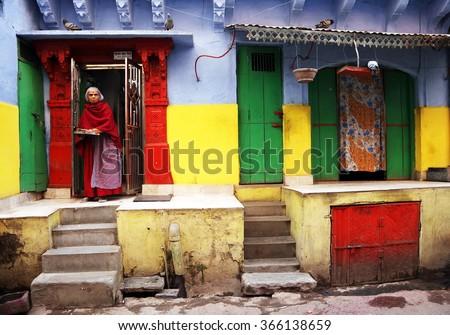 JODHPUR, 28 March 2015, INDIA - Jodhpur street scenein the Blue City of Jodhpur, India, Asia - stock photo