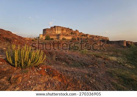 Jodphur palace from the desert area - stock photo