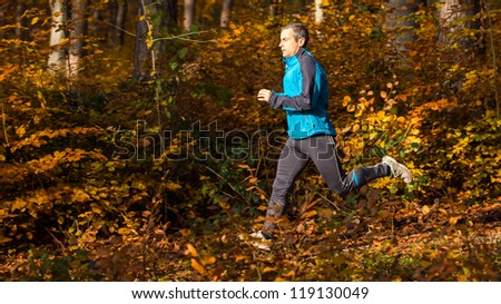 jogger in a forest in autumn