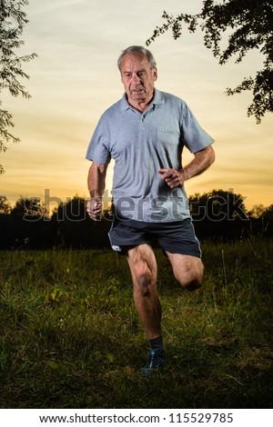jogger in sunrise - stock photo