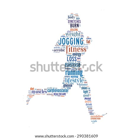 Jogging benefits conceptual in word cloud - stock photo
