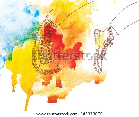 jogging in sports shoes on watercolor background.