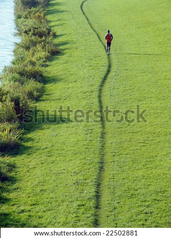 Jogging person knowing its way - stock photo
