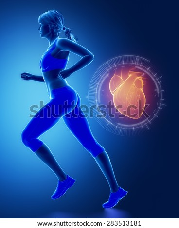 Jogging woman with heart interface - stock photo