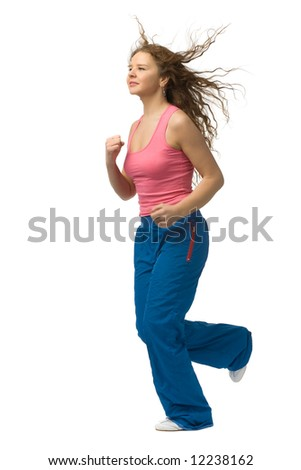 jogging young beautiful girl isolated on white - stock photo