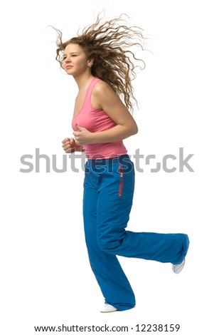 jogging young beautiful woman isolated on white - stock photo