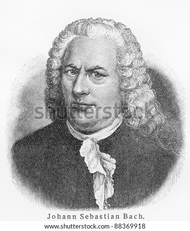 Johann Sebastian Bach - Picture from Meyers Lexicon books written in German language. Collection of 21 volumes published between 1905 and 1909.