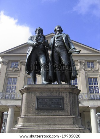 Johann Wolfgang Goethe and Friedrich Schiller Monument in Weimar,Germany - stock photo